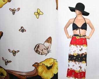 Vintage Novelty Print Skirt / Midi / High Waisted / Butterflies + Honey Bees / Floral / Resort / Sheer / Swim Cover up / Beach Wear / Small