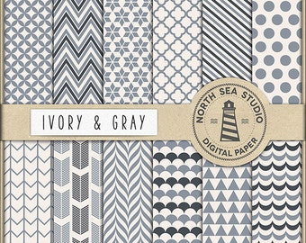 Ivory And Gray Digital Paper Pack | Scrapbook Paper | Printable Backgrounds | 12 JPG, 300dpi Files | BUY5FOR8