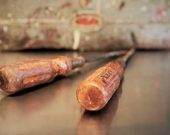 Two Long Vintage Wooden Handled Screwdrivers - 12 Inch - Flat Blade and Phillips Tip