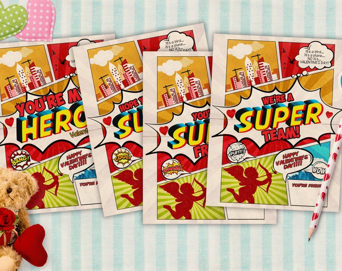 Set of 4 Designs, Comic, super hero, Valentine cards printable - Valentine's Day, children's Valentine's, cards, comic book, retro Valentine
