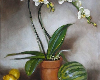 Orchid Oil Painting, Impressionist, Still Life Painting, Orchids and Watermelon, American Artist, Original Oil Painting