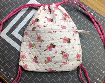 Quilted Cotton Drawstring bag