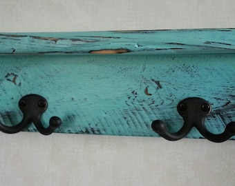 Distressed turquoise or antique white bathroom shelf / Reclaimed wood farmhouse style shelf with hooks / Rustic necklace display