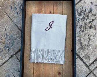 ASH PASHMINA SCARF - Pashmina Scarves - Blanket Scarf - Winter Wedding - Personalized Scarf - Monogram Pashmina - Bridesmaid Scarf Wrap