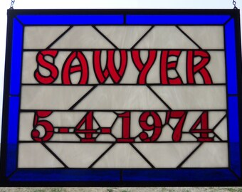 Wedding Gift For Bride and Groom, Family Established Sign, Stained Glass Window Panel, Hand Made Third Anniversary Gift