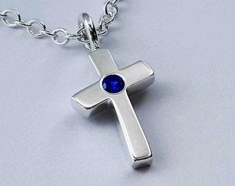 Blue Sapphire Cross Necklace Pendant in Sterling Silver - Sapphire Cross Necklace, Sapphire Cross Pendant, Sterling Silver Cross Sapphire