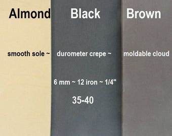 Durometer Crepe, Shoe Making Supplies, SoleTech Rubber, 6mm Cloud 35-40,  Moldable Shoe Soling, Handmade Shoe Supplies