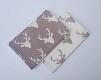 Grey and White Deer Burp Cloths- deer antler baby, woodland baby nursery, burpcloths for boys, baby shower gift, camo baby, hunting buddy