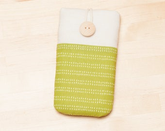 iPhone X sleeve / iPhone 8 sleeve / Huawei cover  / iphone 8 case / fabric iphone 5 case - Green lines