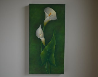 Original 10x20' realistic calla lily painting, still life painting, flower painting, floral painting, kitchen painting, white flower art