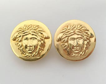 Authentic Vintage GIANNI VERSACE Gold Medusa Round Earrings