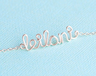 Sterling Silver Wire Name Bracelet, Personalized Name Bracelet