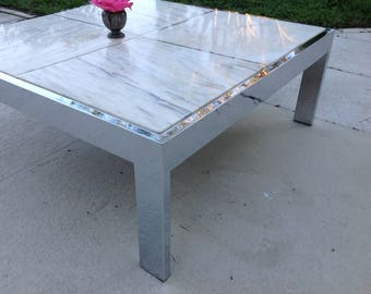 """CHROME COFFEE TABLE / 38"""" x 38"""" x 15"""" / Large Scale Chrome Coffee Table with Inset Marble Top  Retro Daisy Girl"""