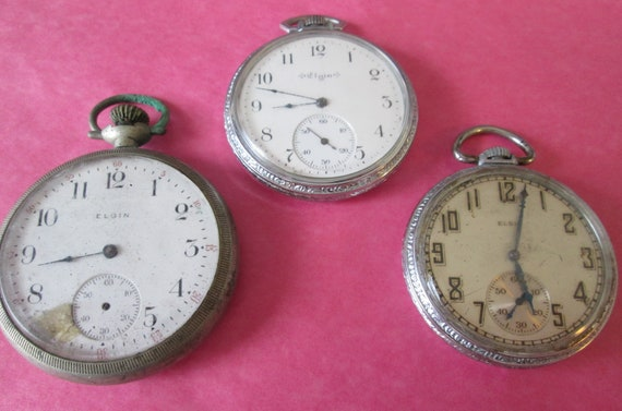 3 Assorted Vintage Elgin Pocket Watches for your Watch Projects, Steampunk Art, Jewelry Crafts and Etc...