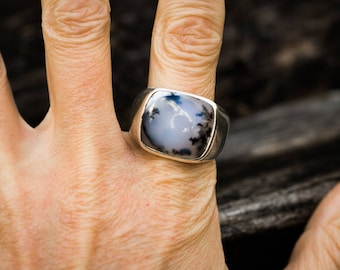 Dendritic Agate Ring 11 - Merlinite Ring - Merlinite Ring Size 11 - Mens Agate Ring - Men's Merilite Ring - Mens Agate Ring - Mens Jewelry