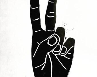 Peace Sign Linocut Print