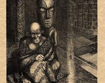 "Maori Legends ""Hupene, the Old Tohunga"" 1907 Wilhelm Dittmer Antique Book Illustration Reproduction Art Print New Zealand"
