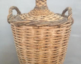 Very Large Vintage Wicker Wrapped Wine Demijohn/Carboy