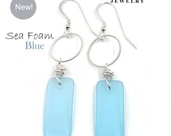 NEW! Nautical Sea Foam BLUE Sea Glass & Hoop Earrings on Sterling Silver Hooks