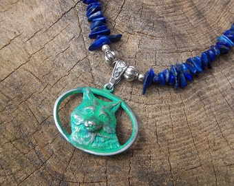 Blue Lapis Chip Necklace with Pewter Wolf Pendant