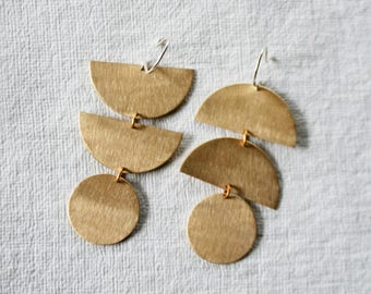 Mismatched Earrings, Statement Earrings, Bold Earrings, Geometric Shape Earrings, Brass, Gold Fill Hooks, CELESTE