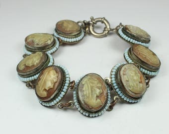 Victorian Style Silver Conch Shell Cameo and Bakelite Beaded Bracelet