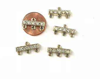 Vintage Deco Rhinestone Connectors three strand to one // Connector Finding // Earring Finding