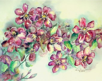 """ORIGINAL Watercolor Summer Floral Painting-Purple Clematis Blossoms and Vine-Medium 11""""x15"""" Wall Hanging"""