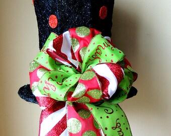 Lighted Christmas Tree Topper Black Top Hat Tree Topper bow Frosty Top Hat Christmas Decoration Centerpiece RAZ Decor