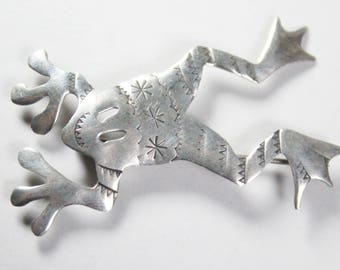 Vintage Sterling Silver Donna Burdic Signed Artisan Frog Leaping Pin Brooch
