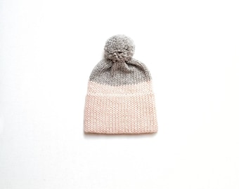 Chunky Knit Slouchy Hat with Wool Pom Pom, Double Brim Woolly Hat,Hand Knitted Beanie,Bobble Hat Gray + Pink, Peruvian Wool,Grey