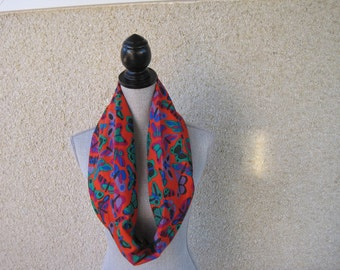 Fabric scarf, Infinity scarf, Butterflies, Butterfly scarf, Orange scarf, Green scarf, Cotton scarf, Bright scarf, Casual scarf, Multicolors