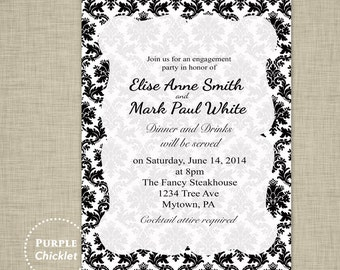 Damask Engagement Dinner Party Invitation Black and White Wedding Bridal Shower Invite Adult Party Digital Black Party Invite JPEG file (1a)