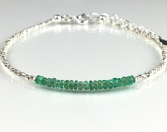 Emerald Bracelet with tiny sterling silver Beads Dainty Bracelet Genuine Emerald  May Birthstone Bracelet Gemstone Gemstone Jewelry