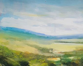 Mixed Media Hills and Fields No.20. Original mixed media painting on mount board.
