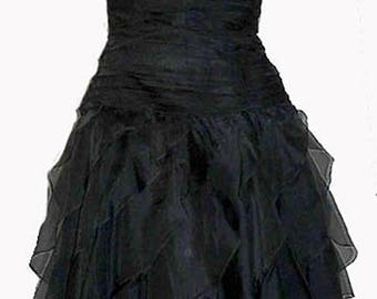 Lillie Rubin dress Ruched Strapless Silk Vintage 1970s Black Ruffles Tiered Above knee USA