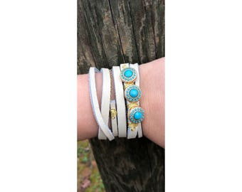 Leather and stone wrap,cuff bracelet