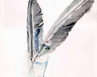 Quill, original watercolor, abstract, format 50 x 40 cm