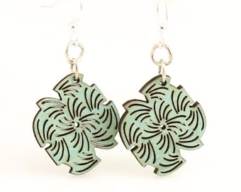Abstracted Lined Blossom - Wood Earrings