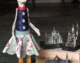 Eleanor - Handmade Papier Mache Found Object Bunny Rabbit Doll by Paula Joerling