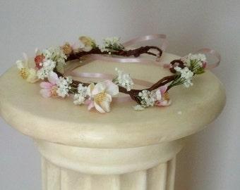 Wedding Crown Blush Pink 2018 Bridal Trends Cherry Blossom Flower Hair Wreath Hairpiece floral headband garland flower girl halo accessories