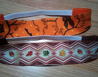 Girls Reversible Fabric Holiday Headband, Handmade, Halloween, Thanksgiving