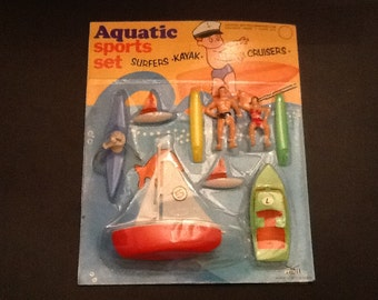 aquatic sports set with surfers and boats 1960's Hong Kong NOS