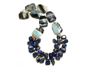 Blue Statement Necklace, Lapis Lazuli Necklace, Blue Lapis Necklace, Statement Jewelry, Amazonite Necklace, Blue Necklace, Gifts For Her