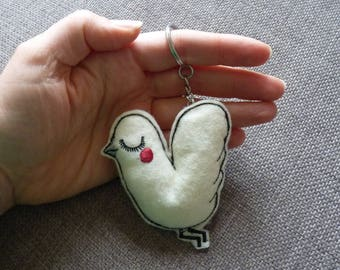 Felt Pigeon Key Ring