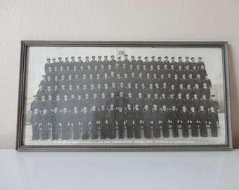 VINTAGE framed black white MILITARY PHOTOGRAPH - us Naval Training Station Farragut, Idaho H.M. McLean March 24 1944