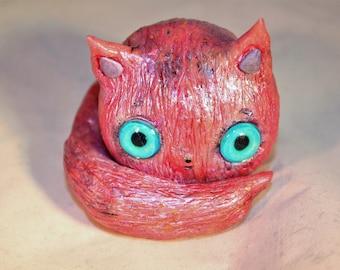 OOAK Polymer clay pink cat figurine