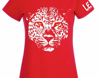 Leopard tshirt for ladies. Red leopard t shirt for African animal lovers. Womens big cat top. Save the Animals gift for vegan or vegetarian