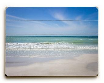 Wood Sign: Beach Decor Wood Plank Art, Beautiful Beach Photography, Nautical Decor, Seascape on Wood Planks, Siesta Key Florida Beach