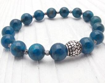 Beauty gift, gift for wife, apatite bracelet, teal gemstone bracelet, sterling silver, gift for her, blue gemstone bracelet, fashion gift